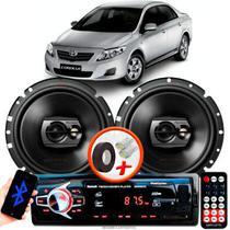 "Alto Falante Pioneer Toyota Corolla Traseiro Ts-1790br 6"" 120W RMS 4 Ohms Triaxial Bobina Simples Preto Par + Rádio Com Bluetooth - Kit Delparts"