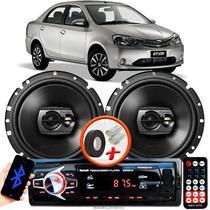 """Alto Falante Pioneer Toyota Etios Sedan Dianteiro Ts-1790br 6"""" 120W RMS  4 Ohms Triaxial Bobina Simples Preto Par + Rádio Com Bluetooth - Kit Delparts"""