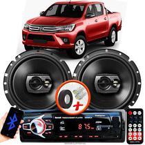 """Alto Falante Pioneer Toyota Hillux Dianteiro Ts-1790br 6"""" 120W RMS  4 Ohms Triaxial Bobina Simples Preto Par + Rádio Com Bluetooth - Kit Delparts"""