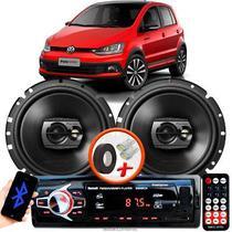 """Alto Falante Pioneer VW FOX Dianteiro Ts-1790br 6"""" 120W RMS  4 Ohms Triaxial Bobina Simples Preto Par + Rádio Com Bluetooth - Kit Delparts"""