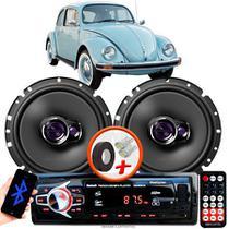 """Alto Falante Pioneer VW Fusca Dianteiro Ts-1760br 6"""" 100W RMS  4 Ohms Triaxial Bobina Simples Par + Rádio Com Bluetooth - Kit Delparts"""