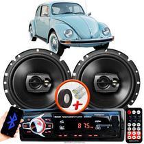 """Alto Falante Pioneer VW Fusca Dianteiro Ts-1790br 6"""" 120W RMS  4 Ohms Triaxial Bobina Simples Preto Par + Rádio Com Bluetooth - Kit Delparts"""