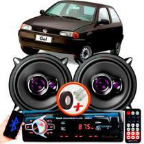 """Alto Falante Pioneer VW GOL G2 Traseiro Ts-1360br 5"""" 100W RMS 4 Ohms Triaxial Bobina Simples Preto Roxo Par + Rádio Com Bluetooth - Kit Delparts"""