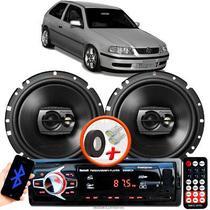 """Alto Falante Pioneer VW GOL G3 Dianteiro Ts-1790br 6"""" 120W RMS  4 Ohms Triaxial Bobina Simples Preto Par + Rádio Com Bluetooth - Kit Delparts"""