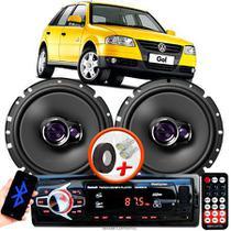 """Alto Falante Pioneer VW GOL G4 Dianteiro Ts-1760br 6"""" 100W RMS  4 Ohms Triaxial Bobina Simples Par + Rádio Com Bluetooth - Kit Delparts"""