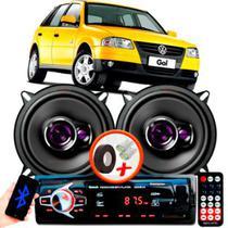 """Alto Falante Pioneer VW GOL G4 Traseiro Ts-1360br 5"""" 100W RMS 4 Ohms Triaxial Bobina Simples Preto Roxo Par + Rádio Com Bluetooth - Kit Delparts"""