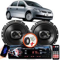 """Alto Falante Pioneer VW GOL G5 Dianteiro Ts-1790br 6"""" 120W RMS  4 Ohms Triaxial Bobina Simples Preto Par + Rádio Com Bluetooth - Kit Delparts"""