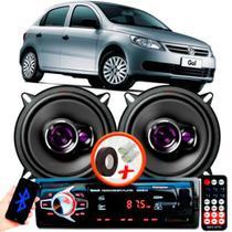 """Alto Falante Pioneer VW GOL G5 Traseiro Ts-1360br 5"""" 100W RMS 4 Ohms Triaxial Bobina Simples Preto Roxo Par + Rádio Com Bluetooth - Kit Delparts"""