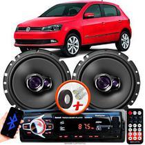 """Alto Falante Pioneer VW GOL G6 Dianteiro Ts-1760br 6"""" 100W RMS  4 Ohms Triaxial Bobina Simples Par + Rádio Com Bluetooth - Kit Delparts"""