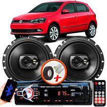 """Alto Falante Pioneer VW GOL G6 Dianteiro Ts-1790br 6"""" 120W RMS  4 Ohms Triaxial Bobina Simples Preto Par + Rádio Com Bluetooth - Kit Delparts"""