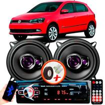 """Alto Falante Pioneer VW GOL G6 Traseiro Ts-1360br 5"""" 100W RMS 4 Ohms Triaxial Bobina Simples Preto Roxo Par + Rádio Com Bluetooth - Kit Delparts"""