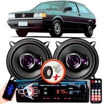 """Alto Falante Pioneer VW Gol Quadrado Traseiro Ts-1360br 5"""" 100W RMS 4 Ohms Triaxial Bobina Simples Preto Roxo Par + Rádio Com Bluetooth - Kit Delparts"""