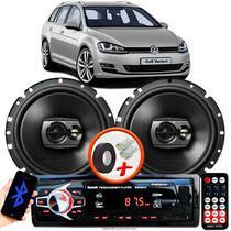 """Alto Falante Pioneer VW Golf  Dianteiro Ts-1790br 6"""" 120W RMS  4 Ohms Triaxial Bobina Simples Preto Par + Rádio Com Bluetooth - Kit Delparts"""
