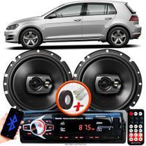 """Alto Falante Pioneer VW Golf Traseiro Ts-1790br 6"""" 120W RMS 4 Ohms Triaxial Bobina Simples Preto Par + Rádio Com Bluetooth - Kit Delparts"""
