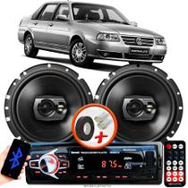 """Alto Falante Pioneer VW Santana Traseiro Ts-1790br 6"""" 120W RMS 4 Ohms Triaxial Bobina Simples Preto Par + Rádio Com Bluetooth - Kit Delparts"""