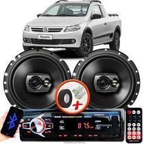 """Alto Falante Pioneer VW Saveiro G5 Dianteiro Ts-1790br 6"""" 120W RMS  4 Ohms Triaxial Bobina Simples Preto Par + Rádio Com Bluetooth - Kit Delparts"""