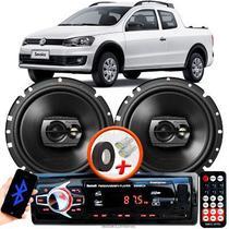 """Alto Falante Pioneer VW Saveiro G6 Dianteiro Ts-1790br 6"""" 120W RMS  4 Ohms Triaxial Bobina Simples Preto Par + Rádio Com Bluetooth - Kit Delparts"""