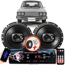 """Alto Falante Pioneer VW Variant Dianteiro Ts-1790br 6"""" 120W RMS  4 Ohms Triaxial Bobina Simples Preto Par + Rádio Com Bluetooth - Kit Delparts"""