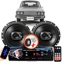 """Alto Falante Pioneer VW Variant Traseiro Ts-1790br 6"""" 120W RMS 4 Ohms Triaxial Bobina Simples Preto Par + Rádio Com Bluetooth - Kit Delparts"""