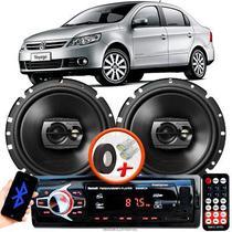 """Alto Falante Pioneer VW Voyage G6 Dianteiro Ts-1790br 6"""" 120W RMS  4 Ohms Triaxial Bobina Simples Preto Par + Rádio Com Bluetooth - Kit Delparts"""