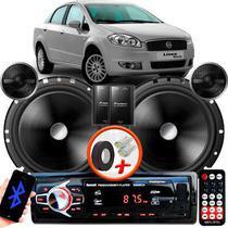 "Alto Falante Pionner Fiat Linea Traseiro 2 Vias TS-C170BR 6"" 120W RMS + Tweeters + Crossovers Par + Rádio Com Bluetooth - Kit Delparts"