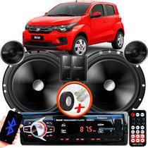 """Alto Falante Pionner Fiat Mobi Dianteiro 2 Vias TS-C170BR 6"""" 120W RMS + Tweeters + Crossovers Par + Rádio Com Bluetooth - Kit Delparts"""
