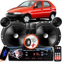 "Alto Falante Pionner Fiat Palio Dianteiro 2 Vias TS-C170BR 6"" 120W RMS + Tweeters + Crossovers Par + Rádio Com Bluetooth - Kit Delparts"