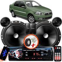 "Alto Falante Pionner Fiat Siena Traseiro 2 Vias TS-C170BR 6"" 120W RMS + Tweeters + Crossovers Par + Rádio Com Bluetooth - Kit Delparts"