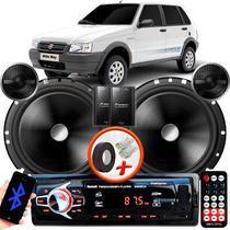 "Alto Falante Pionner Fiat Uno Traseiro 2 Vias TS-C170BR 6"" 120W RMS + Tweeters + Crossovers Par + Rádio Com Bluetooth - Kit Delparts"