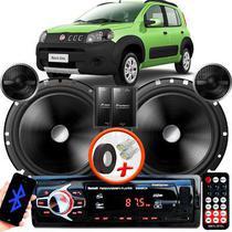 """Alto Falante Pionner Fiat Uno Way Traseiro 2 Vias TS-C170BR 6"""" 120W RMS + Tweeters + Crossovers Par + Rádio Com Bluetooth - Kit Delparts"""