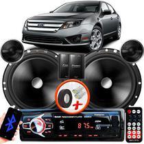 "Alto Falante Pionner Ford Fusion Dianteiro 2 Vias TS-C170BR 6"" 120W RMS + Tweeters + Crossovers Par + Rádio Com Bluetooth - Kit Delparts"