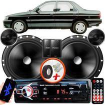 "Alto Falante Pionner Ford Verona Traseiro 2 Vias TS-C170BR 6"" 120W RMS + Tweeters + Crossovers Par + Rádio Com Bluetooth - Kit Delparts"