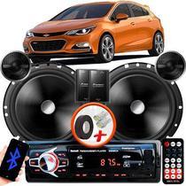 """Alto Falante Pionner GM Cruze Hatch Dianteiro 2 Vias TS-C170BR 6"""" 120W RMS + Tweeters + Crossovers Par + Rádio Com Bluetooth - Kit Delparts"""