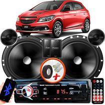 "Alto Falante Pionner GM Onix Traseiro 2 Vias TS-C170BR 6"" 120W RMS + Tweeters + Crossovers Par + Rádio Com Bluetooth - Kit Delparts"