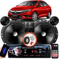 """Alto Falante Pionner Honda City Dianteiro 2 Vias TS-C170BR 6"""" 120W RMS + Tweeters + Crossovers Par + Rádio Com Bluetooth - Kit Delparts"""