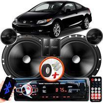"Alto Falante Pionner Honda Civic Traseiro 2 Vias TS-C170BR 6"" 120W RMS + Tweeters + Crossovers Par + Rádio Com Bluetooth - Kit Delparts"