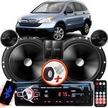 """Alto Falante Pionner Honda Crv Dianteiro 2 Vias TS-C170BR 6"""" 120W RMS + Tweeters + Crossovers Par + Rádio Com Bluetooth - Kit Delparts"""