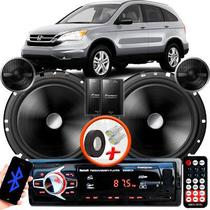 "Alto Falante Pionner Honda CRV Traseiro 2 Vias TS-C170BR 6"" 120W RMS + Tweeters + Crossovers Par + Rádio Com Bluetooth - Kit Delparts"