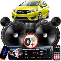 """Alto Falante Pionner Honda Fit Dianteiro 2 Vias TS-C170BR 6"""" 120W RMS + Tweeters + Crossovers Par + Rádio Com Bluetooth - Kit Delparts"""