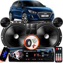 """Alto Falante Pionner Hyundai I30 Traseiro 2 Vias TS-C170BR 6"""" 120W RMS + Tweeters + Crossovers Par + Rádio Com Bluetooth - Kit Delparts"""