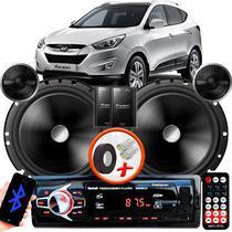 "Alto Falante Pionner Hyundai Tucson Traseiro 2 Vias TS-C170BR 6"" 120W RMS + Tweeters + Crossovers Par + Rádio Com Bluetooth - Kit Delparts"