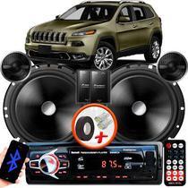 "Alto Falante Pionner Jeep Cherokee Dianteiro 2 Vias TS-C170BR 6"" 120W RMS + Tweeters + Crossovers Par + Rádio Com Bluetooth - Kit Delparts"