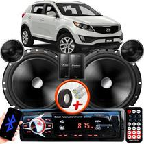 "Alto Falante Pionner Kia Sportage Dianteiro 2 Vias TS-C170BR 6"" 120W RMS + Tweeters + Crossovers Par + Rádio Com Bluetooth - Kit Delparts"