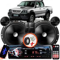 "Alto Falante Pionner Mitsubishi L200 GLS Dianteiro 2 Vias TS-C170BR 6"" 120W RMS + Tweeters + Crossovers Par + Rádio Com Bluetooth - Kit Delparts"
