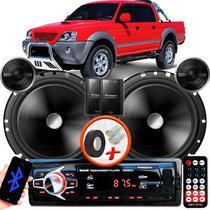 "Alto Falante Pionner Mitsubishi L200 Sport Traseiro 2 Vias TS-C170BR 6"" 120W RMS + Tweeters + Crossovers Par + Rádio Com Bluetooth - Kit Delparts"