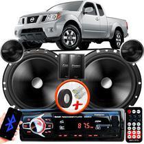 "Alto Falante Pionner Nissan Frontier Dianteiro 2 Vias TS-C170BR 6"" 120W RMS + Tweeters + Crossovers Par + Rádio Com Bluetooth - Kit Delparts"