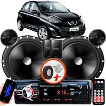 "Alto Falante Pionner Nissan March Dianteiro 2 Vias TS-C170BR 6"" 120W RMS + Tweeters + Crossovers Par + Rádio Com Bluetooth - Kit Delparts"