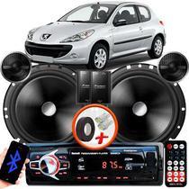 "Alto Falante Pionner Peugeot 206 Dianteiro 2 Vias TS-C170BR 6"" 120W RMS + Tweeters + Crossovers Par + Rádio Com Bluetooth - Kit Delparts"