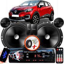 "Alto Falante Pionner Renault Captur Traseiro 2 Vias TS-C170BR 6"" 120W RMS + Tweeters + Crossovers Par + Rádio Com Bluetooth - Kit Delparts"