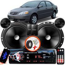 "Alto Falante Pionner Toyota Corolla Dianteiro 2 Vias TS-C170BR 6"" 120W RMS + Tweeters + Crossovers Par + Rádio Com Bluetooth - Kit Delparts"